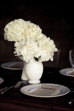 Milkglass flower vases for table centerpieces