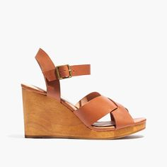 Madewell Spring 2016. The Drea Wedge. Incredibly walkable (and danceable), this leather crisscross sandal has an easy wooden wedge heel and adjustable ankle strap for extra support. Your warm-weather style just got a little more dressed up.