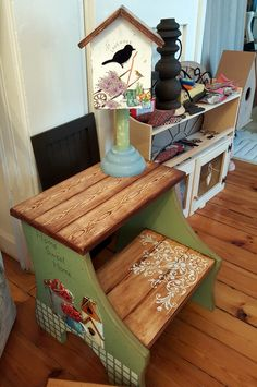 Decoupage Furniture, Painted Furniture, Ikea, Painting On Wood, Entryway Tables, Country, Outdoor Decor, Crafts, Home Decor