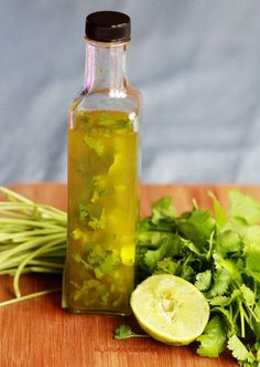 Cilantro Lime Vinaigrette   makes around 2 cups  Needed: 6 ounces olive oil, 3-4 tablespoons chopped cilantro, juice from 1 lime    Mix all ingredients together and drizzle on your favorite salad. Store in a sealable jar or other container and keep in your refrigerator for up to two weeks.