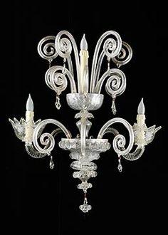 Pair of 1930s Style Three-light Handblown Glass Murano Sconces