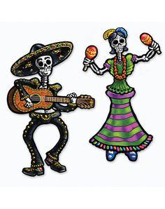 """14"""" Day of the Dead Male & Female Sugar Skull Skeletons – Spirit Halloween"""