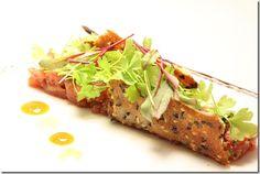 Yellow Fin Tuna Tartare – Sesame Cracker – Green Apple – Micro Celery – Miso Soy Syrup