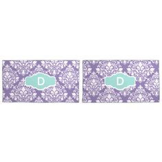 Monogram Purple Damask Pillow Cases