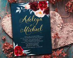 Navy blue burgundy Wedding Invitation by DivineGiveDigital on Etsy