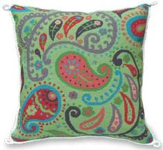 GREEN PAISLEY PILLOW - Product Details-KeepsakeNeedleArts.com