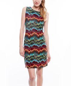 $21.99 Loving this Black & Red Chevron Sleeveless Dress on #zulily! #zulilyfinds