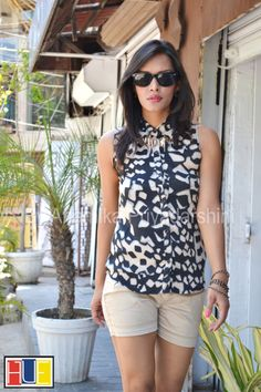 Abstract print sleeveless shirt .... Buy @ http://www.myntra.com/hue-by-anamika?userQuery=true https://www.facebook.com/HueByAnamikaPriyadarshini?ref=bookmarks