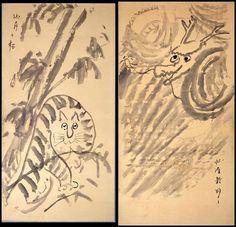江戸時代のゆるい龍と虎(『龍虎図』 仙厓義梵 画)の拡大画像