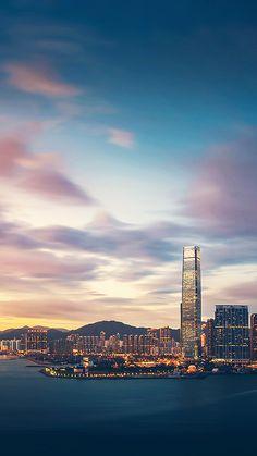 Hong Kong Sunset Skyscraper City Bay #iPhone #7 #wallpaper