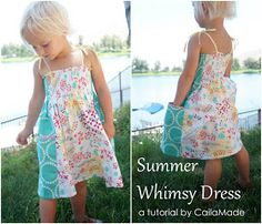 Caila-Made: A Summer Whimsy Sundress Tutorial {30 Days of Sundresses} an easy shirred sundress with side panel pockets. Squeee!