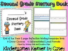 Second Grade NO PREP Writing Memory Books are the perfect end of the year reflection writing activity. Books make a nice keepsake for students and parents. Your 2nd graders will enjoy looking back and writing about the memorable year they had with you as their