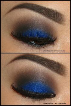 This is gorgeous eye makeup for the weekend. Blue eyshadow below the crease and black matte eyeshadow above the crease with penciled in eyebrows. Note the and black eyeliner on the eye to give the evening glamour look. Pretty Makeup, Love Makeup, Makeup Looks, All Things Beauty, Beauty Make Up, Hair Beauty, Beauty Secrets, Beauty Hacks, Beauty Tips