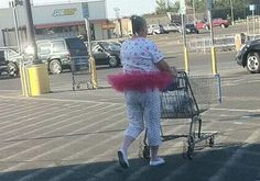 Woman in a Tutu Pushes a Cart through the Walmart Parking Lot - Funny Pictures at Walmart
