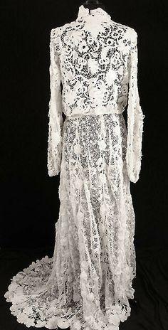 Exceptional RARE French Victorian 1800s Irish Crochet Lace Wedding Dress Sz 4 6