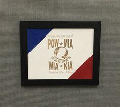 Suede FRAMED ART:Laser engraved POW, MIA, KIA, WIA