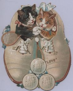 A LOVE SET CALENDAR FOR 1904, kittens in tennis shoes holding rackets