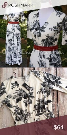 """Agnes & Dora Maxi Dress Black White Roses M 8 10 Like new condition. Agnes and Dora Austen Dress. Maxi length, elbow-length sleeves, v-neck, and POCKETS! Stretchy baby suede """"leggings"""" material. Runs true to size. M = 8-10. Agnes & Dora Dresses Maxi"""