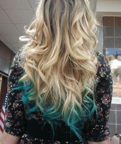 beautiful, blonde, blue dye at the end