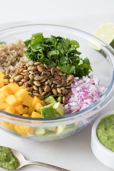 Mango-Avocado Quinoa Salad with Toasted Pepitas (served with Creamy Dairy-Free Cilantro Jalapeño Lime Sauce) Gluten-free, vegan, nut-free, allergy-friendly, refined sugar-free