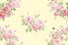"""May Day Summer Roses Wreath"" in buttercup yellow, by Lilyoake on Spoonflower - custom fabric, wallpaper and gift wrap, all print on demand!"