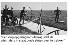 """""""Somewhere in The Netherlands"""" A quickly built bicycle bridge, enables the cyclists to cross wide ditches. Picture to prove that the Dutch army is ready. Published in 1914 in a Dutch illustrated weekly. Frits Wiersma served in the Dutch Army Cyclist Corps between 1914 - 1918."""