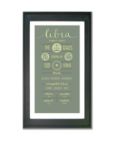 LIBRA Zodiac Print Poster Illustration of Birth Sign by ZodiacZone
