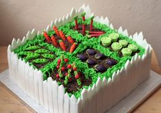 vegetable garden cake. crushed chocolate biscuits for dirt, microwaved + remoulded jelly fruit for vegies