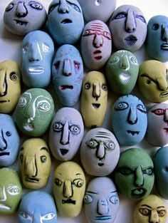 https://flic.kr/p/9pCs1A | Daily Art Inspiration- 3/3/2011 Polymer Faces with Acrylic Paint