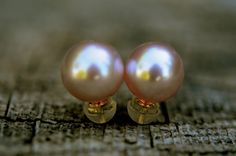 10mm pink perfectly round pearl stud earrings, set on 14k solid gold by FreshwaterCreation on Etsy