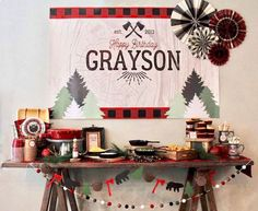 Kara's Party Ideas Grayson's Little Lumberjack Birthday Party Boy First Birthday, 4th Birthday Parties, Birthday Fun, Birthday Ideas, Lumberjack Birthday Party, Pirate Party, Baby Shower, Woodland Party, First Birthdays