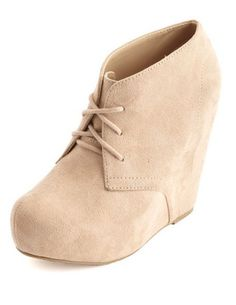 Lace-Up Platform Wedge Bootie: Charlotte Russe -- would like a darker color though.
