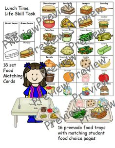 This is a life skill task to help with food recognition and following orders. Students match the food trays to the student matching the order. Also included is a lunch time card set with black line image and color image that can be used as a matching game, memory game, or as flash cards.