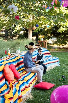 Fiesta Themed Party, Private Residence - Unfortunately, my birthday is in winter, so instead of blanket-covered hay benches, we'll have to have blanket covered people sitting outside in the cold. Love the idea though. Mexican Fiesta Party, Fiesta Theme Party, Party Themes, Party Ideas, Mexico Party, Mexican Celebrations, Mexican Themed Weddings, Mexican Birthday, Fiestas Party