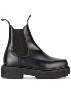 Eytys Ortega Leather Chelsea Boots In Black Black Chelsea Boots, Leather Chelsea Boots, Black Leather Boots, Black Booties, Leather Booties, Ankle Booties, Chunky Boots, Platform Boots, Designer Shoes