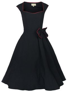 NEW CLASSY VINTAGE 1950's ROCKABILLY STYLE BLACK BOW SWING PARTY EVENING DRESS  35 €  ebay