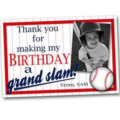 Little Slugger Baseball Birthday Thank You  *