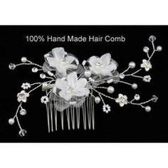 Handmade Bridal White Flower Satin Hair Comb for R240.00