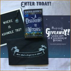 """NEW GIVEAWAY - Enter to win All Souls Trilogy inspired prizes!  Here's what's up for grabs:      A Discovery of Witches (US paperback), signed by Deborah Harkness.     A glass cabochon necklace featuturing the alchemical image, cvm. patientia, or """"with patience"""" (image is featured in ADOW)      Our 2015 Daemon T-shirt -""""Mad, Bad & Dangerous to Know"""" in the front, and """"Feed Your Daemons"""" in the back.   This giveaway is open internationally; read the terms/conditions on the contest page…"""