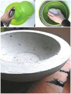 Vaso para suculentas feito com concreto.