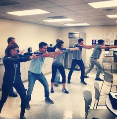 Alec rehearses with Chicago PD cast while directing in 2016