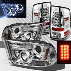 2015 Dodge Ram Chrome Projector Headlights and LED Tail Lights Old Ford Trucks, Lifted Chevy Trucks, Ram Trucks, Cool Trucks, Pickup Trucks, Dodge Ram 2009, Dodge Ram 1500 Hemi, Dodge Ram Pickup, Ram Accessories