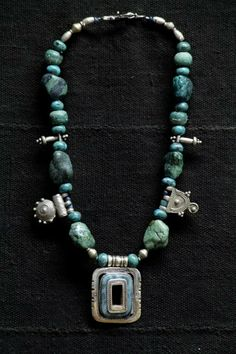 Tuareg turquoise and sterling silver pendant with rare by Nomadgal, $425.00