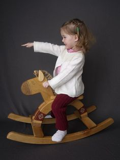 Wooden Rocking Horse kids natural toy by FriendlyToys on Etsy