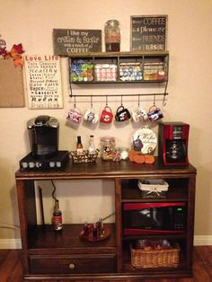 Now THIS is a great recycle of an old Entertainment Center!! What's more entertaining than a great cup of coffee???