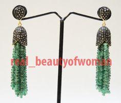 Art Nouveau 4.86cts Rose Cut Diamond Emerald .925 Silver Awesome Tassel Earrings #realbeautyofwoman