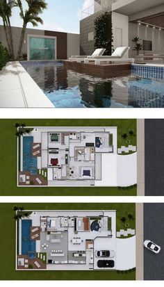 4 Bedrooms Home Design - Home Ideassearch Modern House Floor Plans, Home Design Floor Plans, House Plans Mansion, Dream House Plans, House Layout Plans, House Layouts, Villa Design, Design Your Dream House, Modern House Design