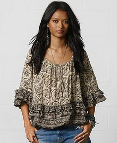 Denim & Supply Ralph Lauren Ruffled Peasant Top - Impulse Tops - Women - Macy's