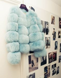Tiffany blue faux fur coat image