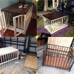 Top 40 Large Dog Crate Ideas In 2020 - Def want to make this for my home, I have a metal dog kennel that doubles as an end table but this looks more professional! Crib to dog crate/end table! Dog Crate End Table, Diy Dog Crate, Large Dog Crate, Large Dogs, Crate Bench, Big Dogs, Great Dane Crate, Dog Crate Cover, Puppy Crate